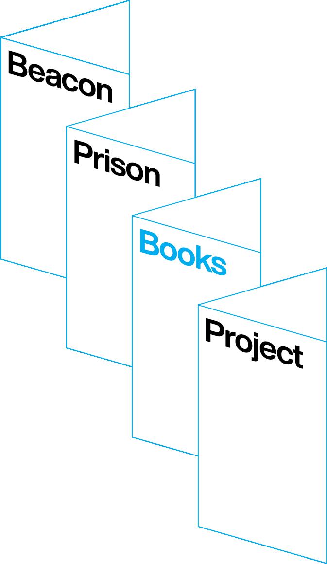 Beacon Prison Books Project Logo - Four minimalist open books, each reading, respectively,